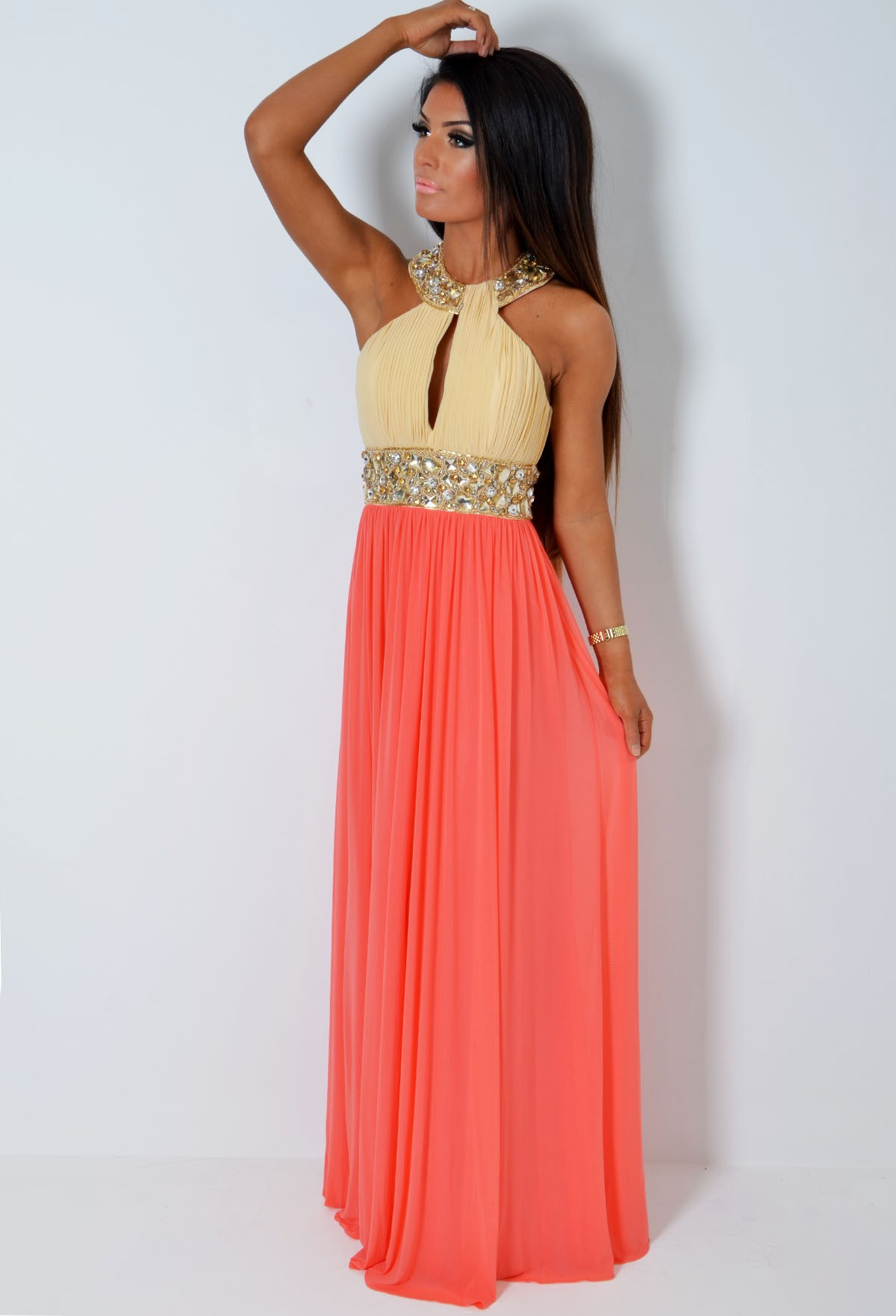VIP* Donna LUXE Super Embellished Peach & Cream Jewel Maxi Dress ...