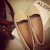 shoes,revals,ballerina,nude,studs,aldo,beige shoes,spikes,lovely,cute shoes,follow me babies,perfecto,light,girl
