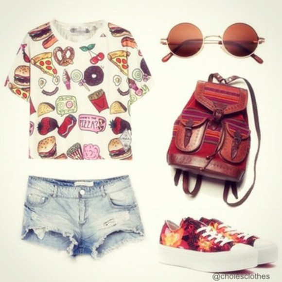sunglasses bag round sunglasses shoes top denim shorts t-shirt too backpack food platform sneakers