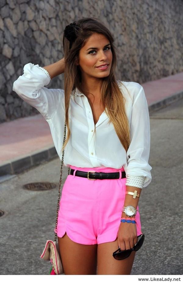shorts neon pink shorts