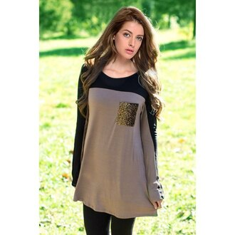 top black trendy cool long sleeves stylish women's sequined scoop neck long sleeve t-shirt stylish casual fall outfits