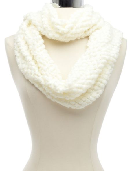 Textured popcorn knit inifinity scarf: charlotte russe