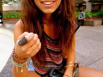 t-shirt indian aztec ring hippie hipster jewels shirt