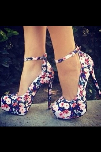shoes flowered shoes floral navy strappy heels platform shoes outside heels with straps high heels party outfits