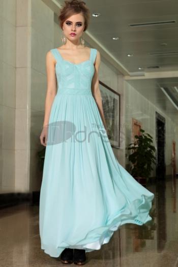 Sky blue shoulder high waist evening dress - $204.00
