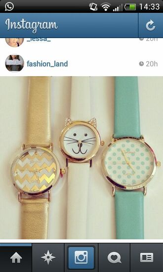 jewels gold watch gold watch cats blue