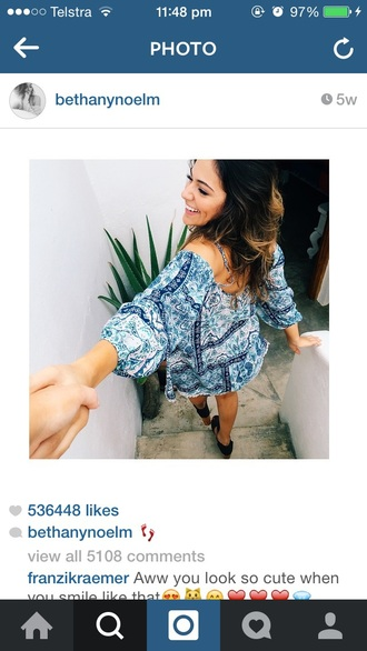 colorful print flowy bethany mota blue dress