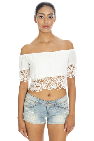 blouse crop tops off the shoulder bohemian white lace