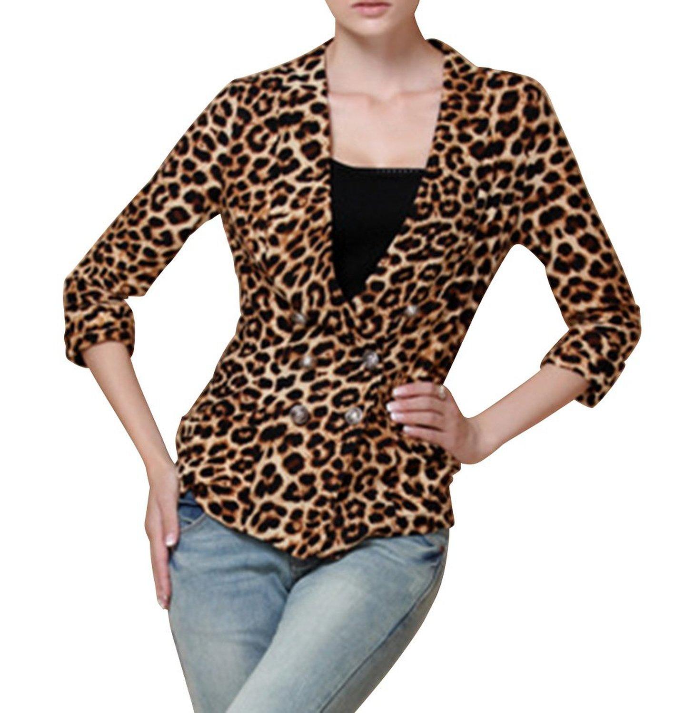 Yidanisi women's sexy leopard print v neck three quarter sleeve jackets at amazon women's clothing store: