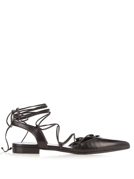 Saint Laurent paris flats leather flats lace leather black shoes