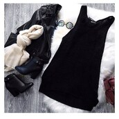 dress,belle xo,knit,black,tank top,tank dress,knitted dress,loose,fit,winter outfits,fall outfits,fashion,style,cute,summer,spring