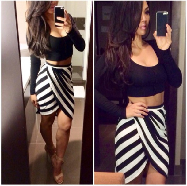 Black And White Wrap Skirt