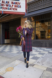 cupcakes and cashmere,blogger,coat,sweater,tank top,jeans,bag,booties,fall outfits,plaid coat