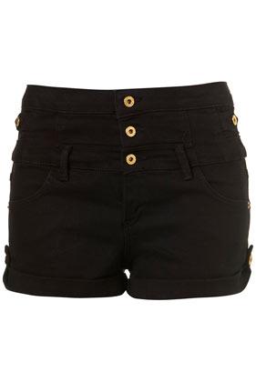 Moto black denim high waisted hotpants