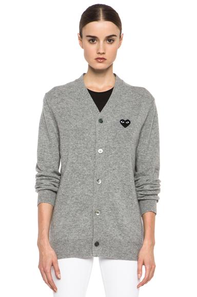 Wool black heart emblem cardigan in light grey