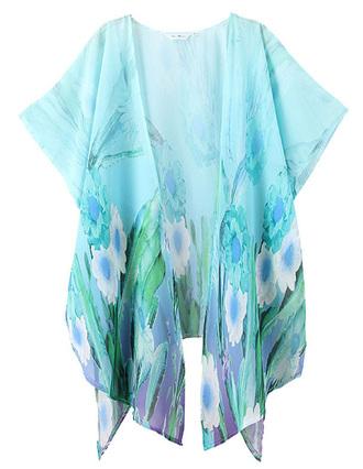 cardigan open front lightweight delicate brenda-shop shirt kimono floral beach summer light blue blue beautiful cute outfits