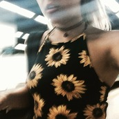 top,flowers,sunflower,halter top