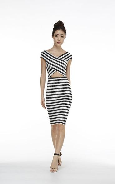 Banded stripe dress