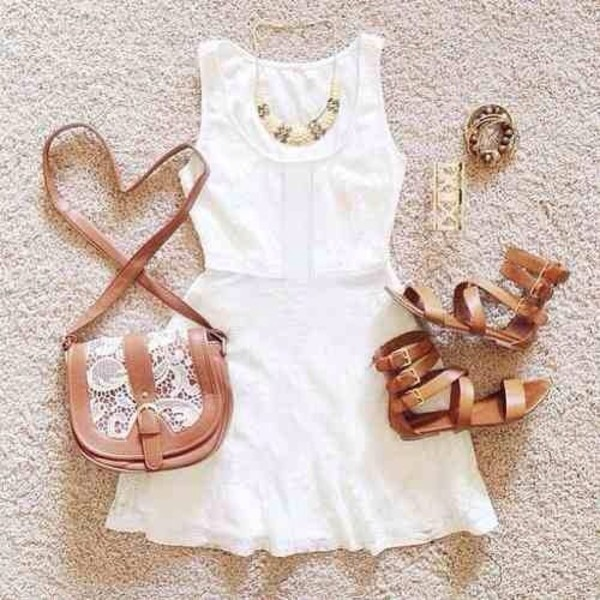 dress white dress brown bag brownshoes jewels shoes bag everything musthave purse country style fashion basic