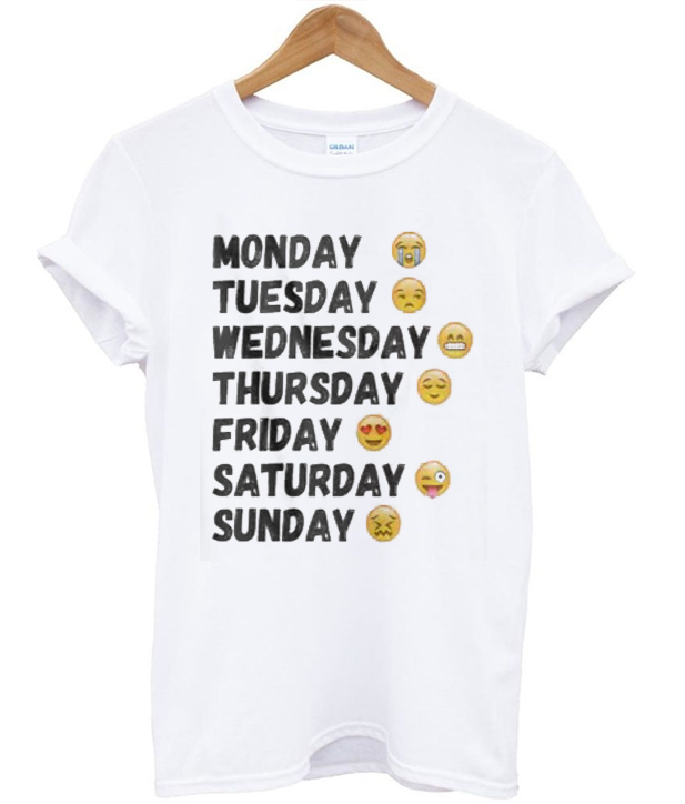 Emoji Days Of The Week Tshirt - StyleCotton