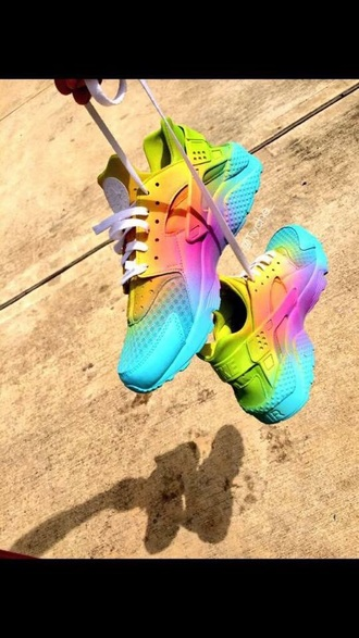 shoes rainbow sneakers rainbow shoes rainbow sneakers tennis shoes sports shoes huarache huaraches nike free run