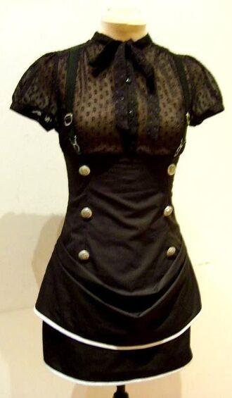 skirt black goth garter skirt steampunk