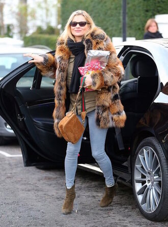 lefashion blogger coat bag printed fur coat printed oversized coat tumblr sweater beige sweater scarf printed coat fur coat fur collar coat denim jeans blue jeans skinny jeans boots brown boots ankle boots suede suede bag sunglasses kate moss celebrity style celebrity