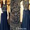 Dark blue chiffon a-line beaded long prom dresses, evening dresses, formal dresses - 24prom