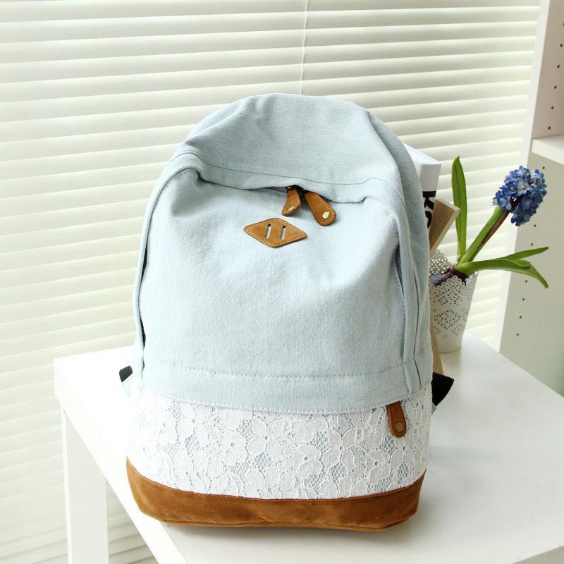f1d3aca57e Vintage Lace Denim Canvas Backpack Satchel Rucksack Shoulder ...