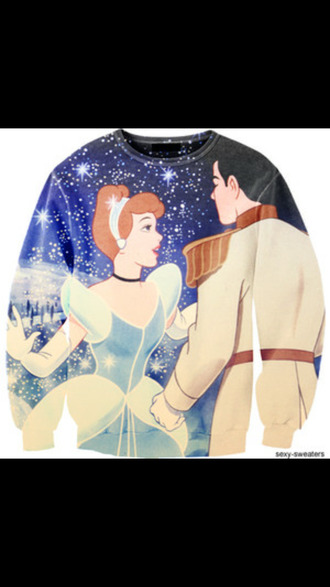 clothes sweater/sweatshirt cinderella disney disney princess disney sweater cute printed sweater valentines day gift idea sweater