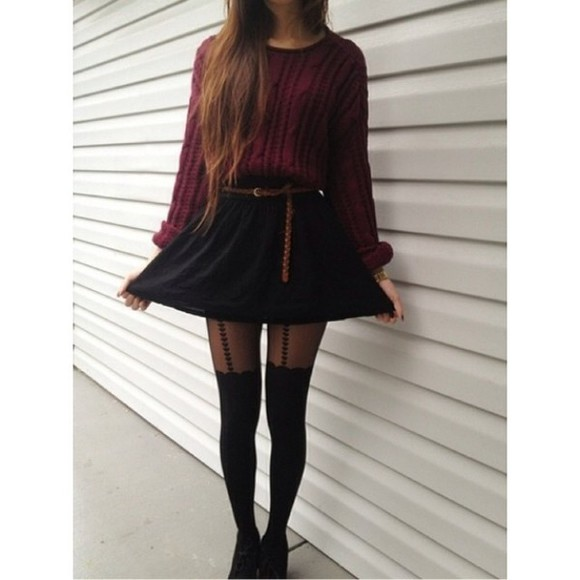sweater burgundy sweater tights