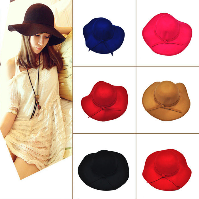 Retro Style Women Ladies Floppy Wide Brim Wool Felt Fedora Cloche Hat Cap CC
