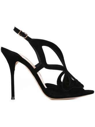 cut-out laser cut sandals black shoes
