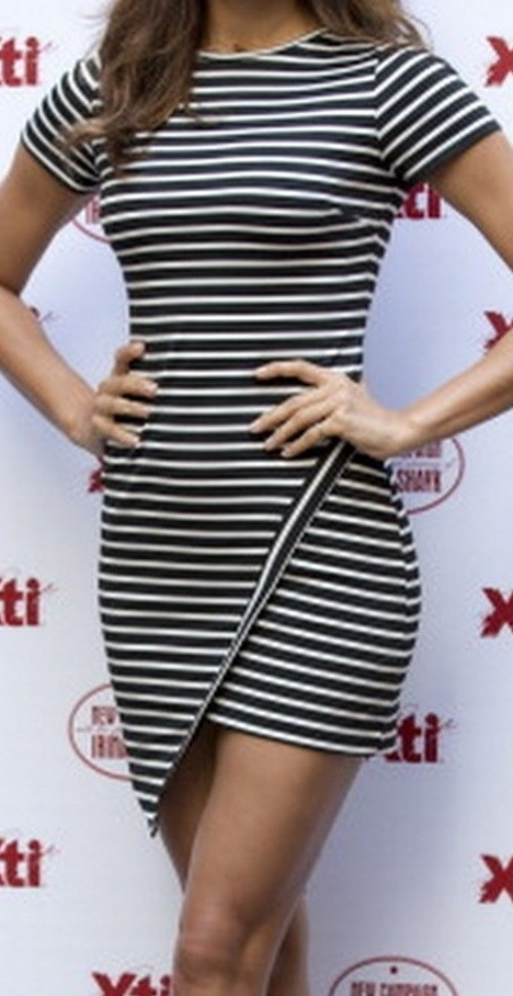 Geometric striped dress celebrity style model irina shayk blogger
