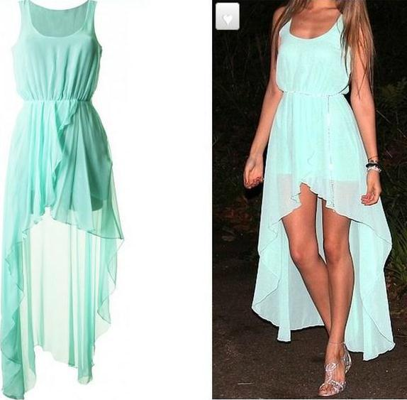 Chiffon dress Long ,Autumn dress warm,2013 fasion mint green high low Dress, sexy ruffles dress-in Dresses from Apparel & Accessories on Aliexpress.com