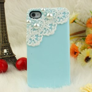 Amazon.com: SODIAL(R) Nova Case 3D Bling Crystal iPhone Case for Sprint iPhone 4/4S Pearls and Lace - Baby Blue: Cell Phones & Accessories