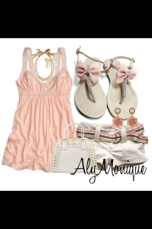 shoes aly monique sandals with pink bows blouse shorts