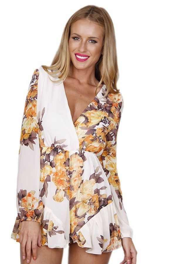 romper romper floral romper floral romper long sleeve playsuit lined romper lined playsuit www.ustrendy.com long sleeve romper