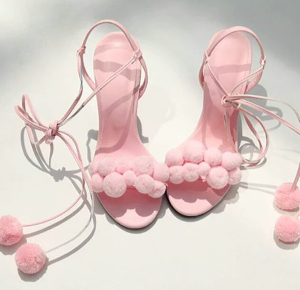 Shoes: strappy heels, pink high heels, pom poms, baby pink high ...