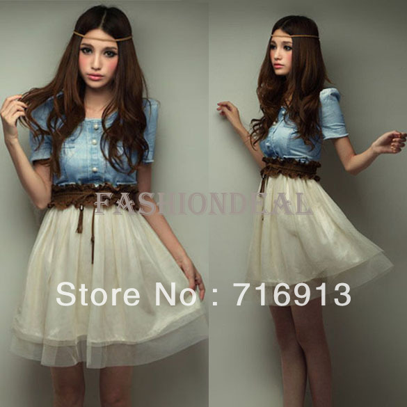 Free Shipping New Hot Vintage Dress OL Office Ladies Cute Women summer Short sleeve Denim Spliced Chiffon dresses With belt 3664-in Dresses from Apparel & Accessories on Aliexpress.com