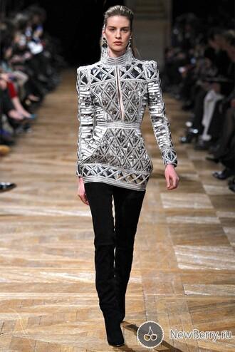 dress balmain white silver classy vintage fashion vibe outfit mini dress celebrity celebrity style