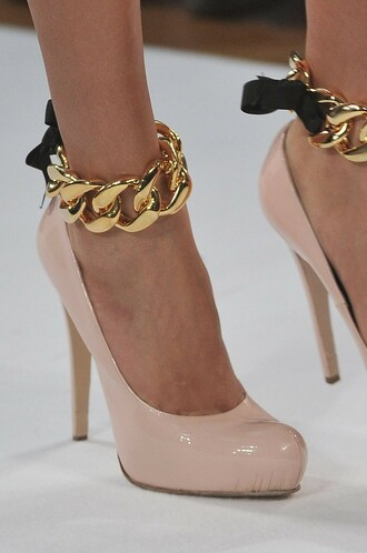 shoes high heels chainlink gold chain ankle strap ankle cuffs pumps