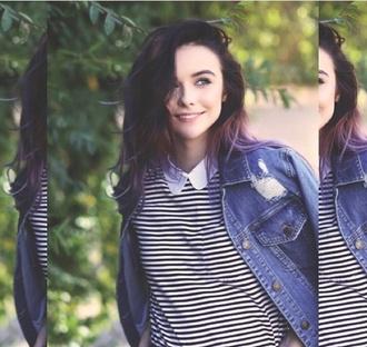 acacia brinley stripes t-shirt collared shirts grunge peter pan collar jacket