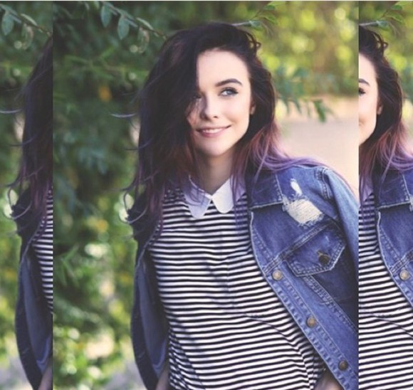 acacia clark acacia brinley t-shirt stripes peter pan collar grunge collared shirts
