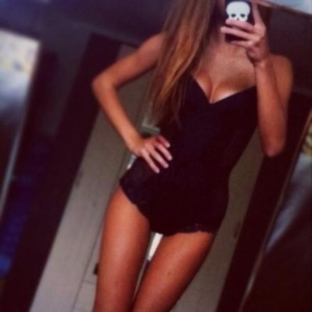 dress underwear women black body bodysuit lace lingerie