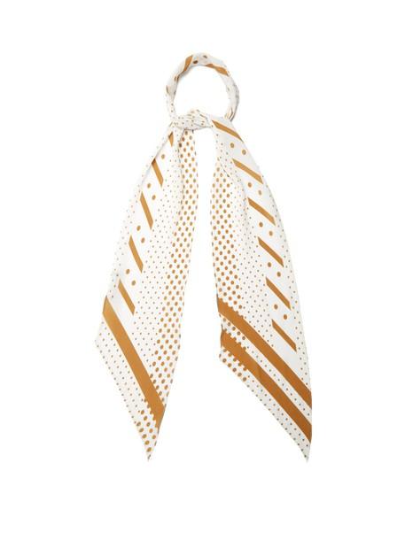 Rockins classic scarf silk scarf print silk gold white