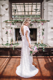ruffled blog,blogger,dress,jewels,wedding dress,open back,lace dress,lace wedding dress,wedding clothes,open back dresses,white lace dress,maxi dress,flowers,wedding hairstyles,hairstyles