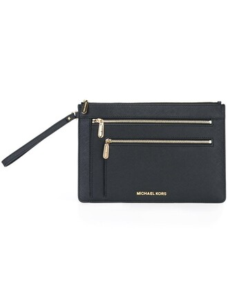 women triple clutch leather black bag