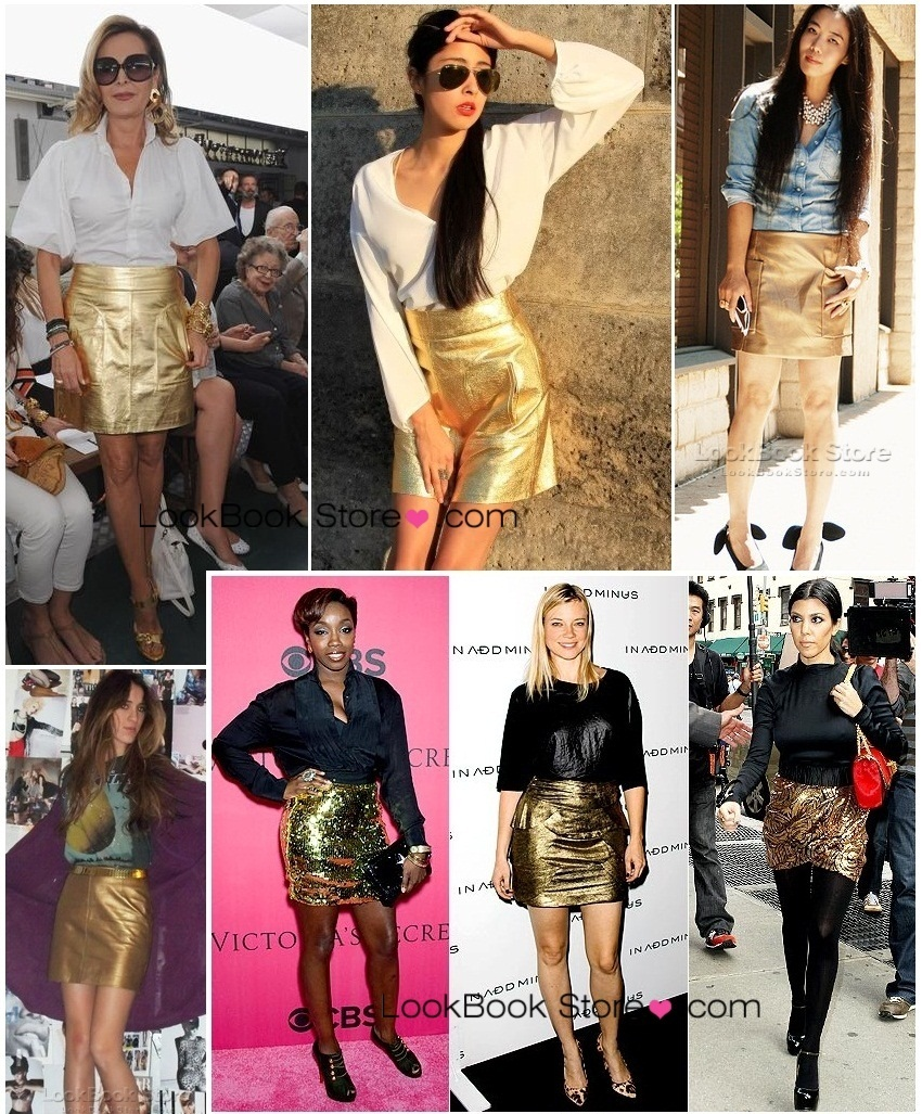 Bnw gold metallic glitter faux leather mini short skirt