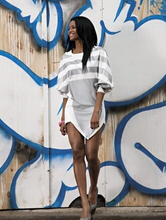 dress adidas ciara grey and white